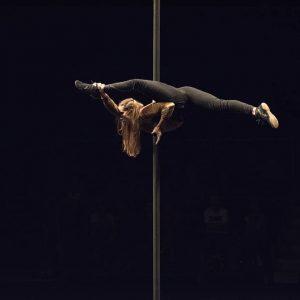 Une artiste se mouvant sur un mât chinois